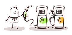 man choosing green fuel - stock illustration