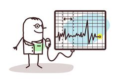 cartoon doctor with electrocardiogram - stock illustration