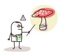 cartoon doctor with dangerous mushroom - stock illustration