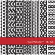 Set of seven geometric patterns. Grey and white - stock illustration