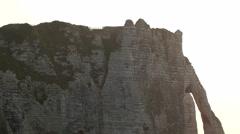 The Failse Etretat cliff with the ocean Stock Footage