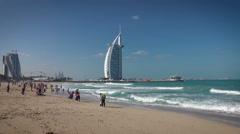 Dubai Burj Al Arab, Jumeirah Beach Stock Footage