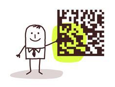 businessman and cryptogram - stock illustration