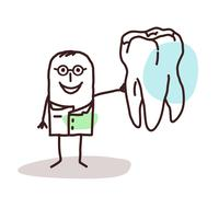 cartoon dentist with big tooth - stock illustration