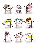 set of female avatars - good moods - stock illustration