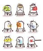 Set of male avatars - bad moods Stock Illustration