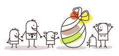 family and Easter egg - stock illustration