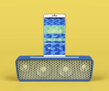 Stock Illustration of Portable speaker and smartphone