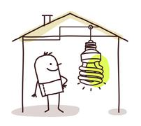 man in house and green light - stock illustration