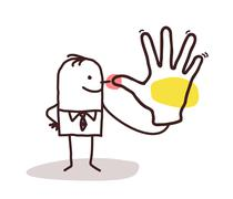 Cartoon man making a snub hand sign Stock Illustration