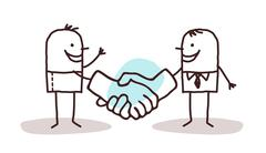 Two cartoon men shaking big hands Stock Illustration