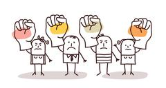 Cartoon group of people saying NO with raised fists Stock Illustration