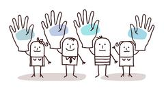 Cartoon group of people saying YES with raised hands Stock Illustration