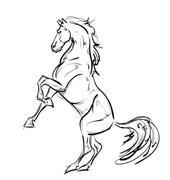 Galloping horses. Hand-drawn illustration - stock illustration