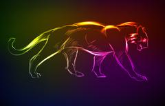 Young Cougar prepares to jump. Neon style - stock illustration