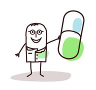 cartoon doctor with good médicine capsule - stock illustration