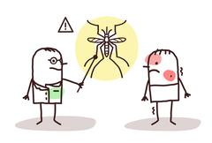 cartoon doctor with sick man and Dengue mosquito - stock illustration