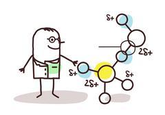 Cartoon scientist with molecule Piirros