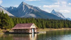 House on the Maligne Lake Stock Footage
