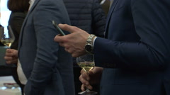 Business men alcohol drinking networking Stock Footage
