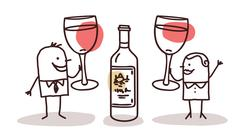 Couple drinking wine Stock Illustration