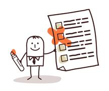 Man & checking list Stock Illustration