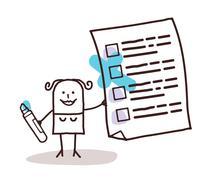 woman & checking list - stock illustration