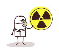 scientist with mask and radioactivity - stock illustration