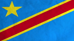 Congolese flag waving in the wind (full frame footage) Stock Footage