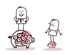 Businessman on Big Piggy Bank and  Poor Man with Little One - stock illustration