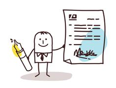 businessman with pen & contract - stock illustration