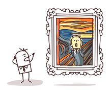 Man watching the Scream imitation Stock Illustration