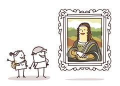 Couple of tourists watching the Mona Lisa Stock Illustration