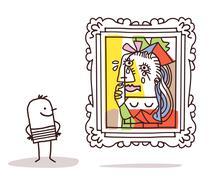 Man watching a Pablo imitation Stock Illustration