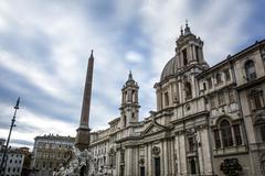 Saint Agnes church facade in piazza Navona, Rome Stock Photos