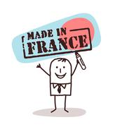 man with made in France sign - stock illustration