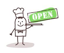 cook chef with open sign - stock illustration