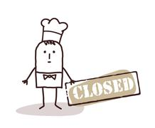 cook chef with closed sign - stock illustration