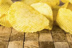 Rippled potato chips. Stock Photos