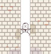 Cartoon man crashed between two walls Stock Illustration
