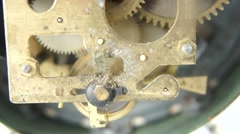 Mechanism of an old retro clock Stock Footage