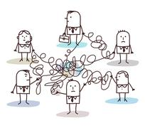 group of business people connected by messy lines - stock illustration