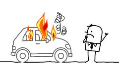 Man watching a burning car Stock Illustration