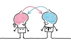 big brain couple & exchange - stock illustration