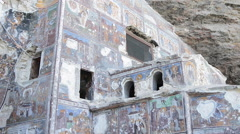 Frescoes of a Greek Othodox Monastery Stock Footage