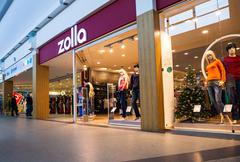 Showcase of Zolla Store in family shopping centre MEGA - stock photo