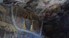 Cave Frescoes of an Ancient Mountain Monastery Stock Footage
