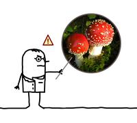Cartoon man doctor warning dangers of mushroom Amanita Stock Illustration