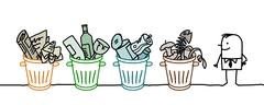 Stock Illustration of man and selective sorted garbage