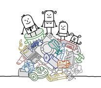 family on a pile of garbage - stock illustration
